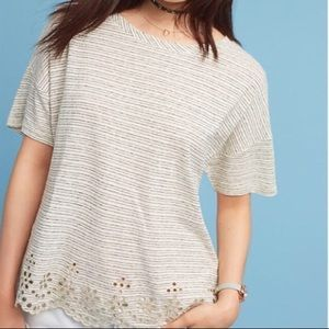 Anthropologie Ivory Striped Linen Eyelet Top
